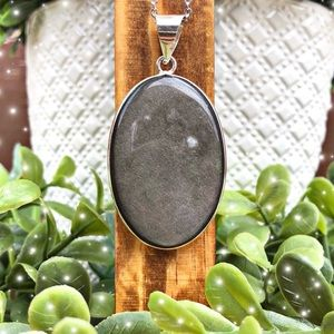 Silver Obsidian Necklace